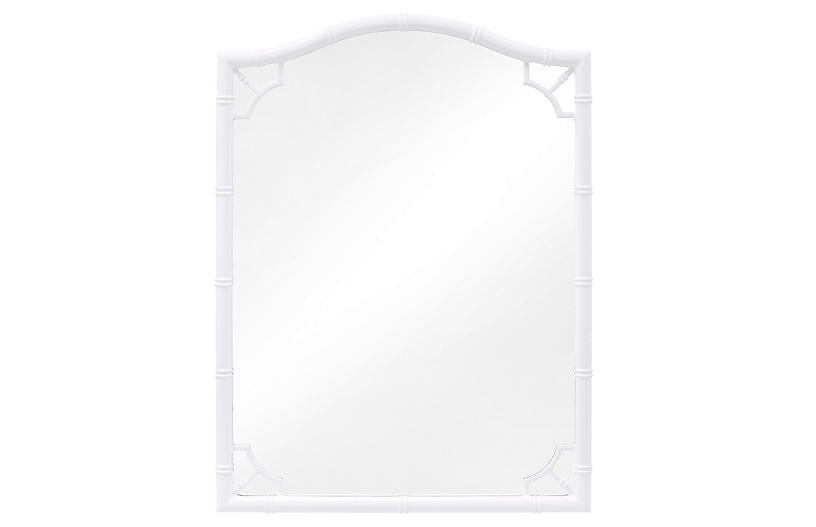 Veda Bamboo Wall Mirror, White