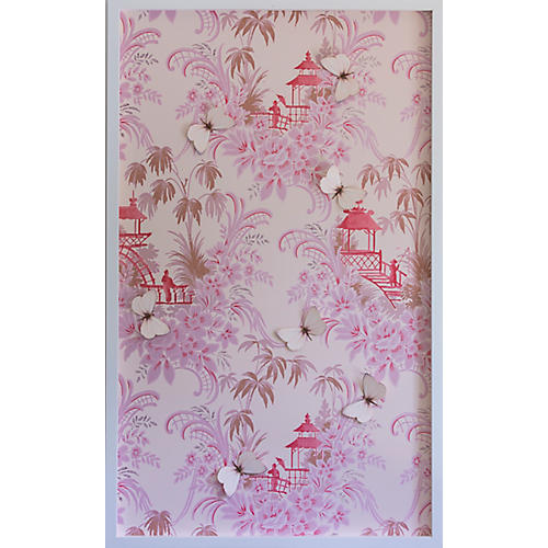 Dawn Wolfe, Pink Pagoda Vintage Wallpaper Panel