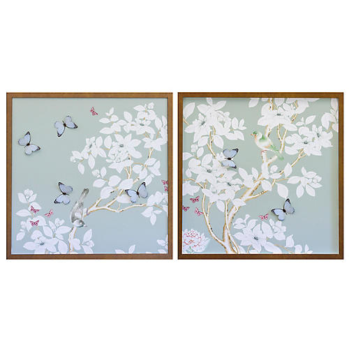 Dawn Wolfe, Pale Gray/Green Chinoiserie Diptych