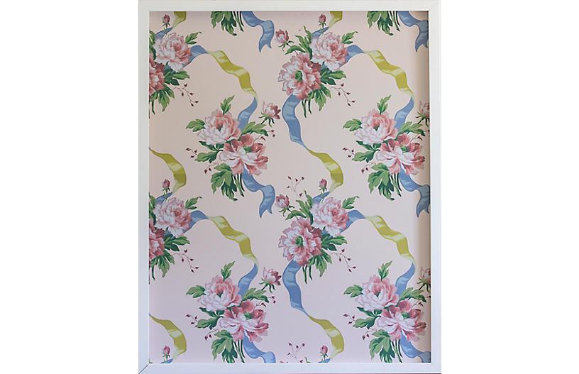 Dawn Wolfe, Pink Rose on Pale Pink Wallpaper Panel