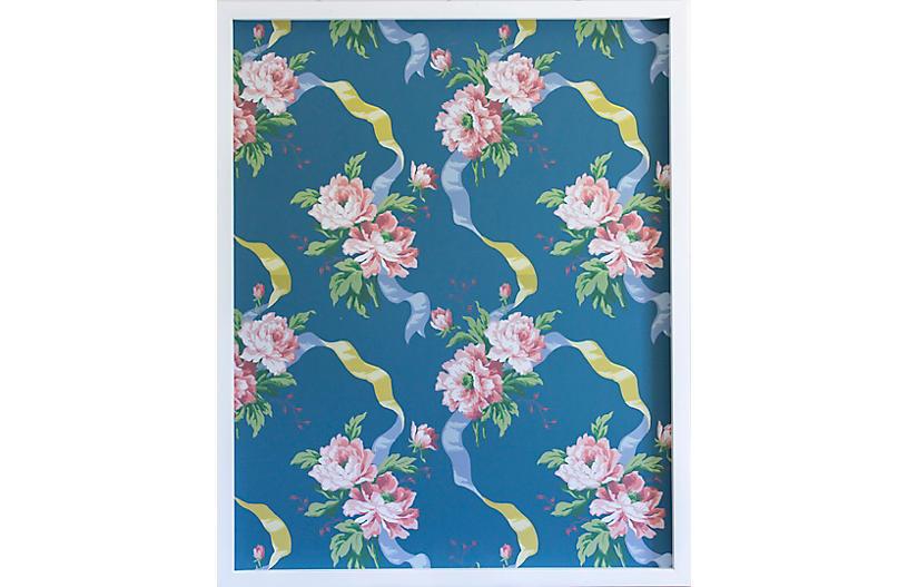 Dawn Wolfe, Pink Rose on Dark Blue Wallpaper Panel