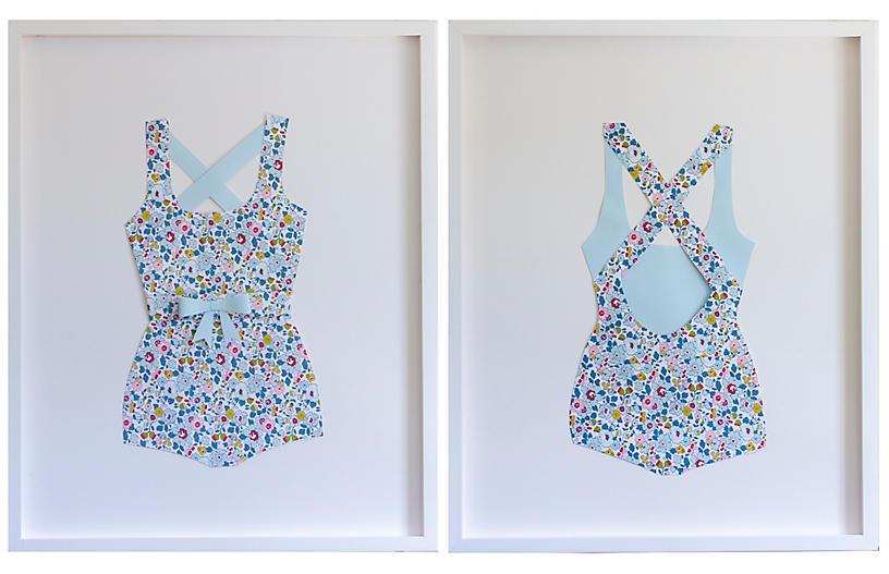 Dawn Wolfe, Folded Paper Floral Bathing Suit Set