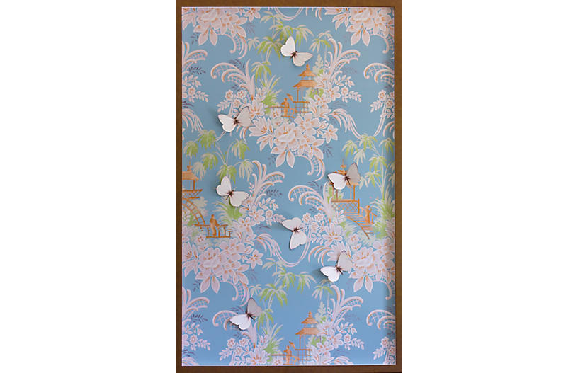 Dawn Wolfe, Blue & Pink Pagoda Wallpaper Panel