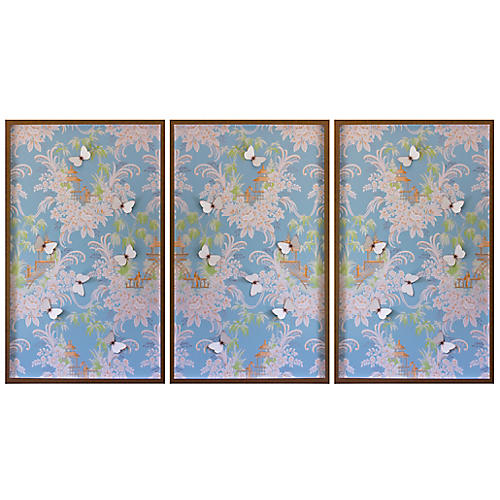 Dawn Wolfe, Blue & Pink Pagoda Wallpaper Triptych