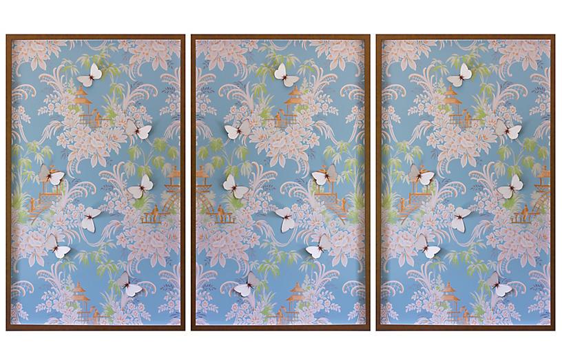 Dawn Wolfe, Blue & Pink Pagoda Wallpaper Triptych