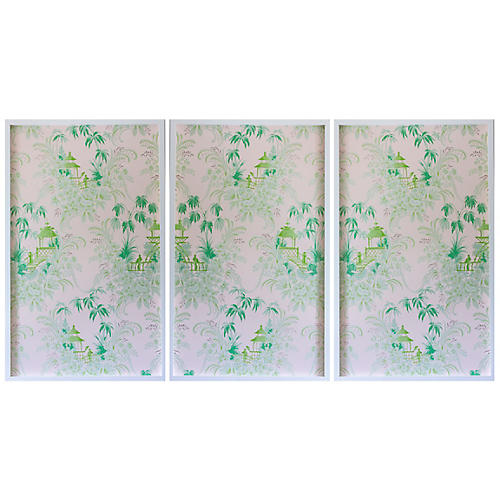 Dawn Wolfe, Pale Green Pagoda Wallpaper Triptych