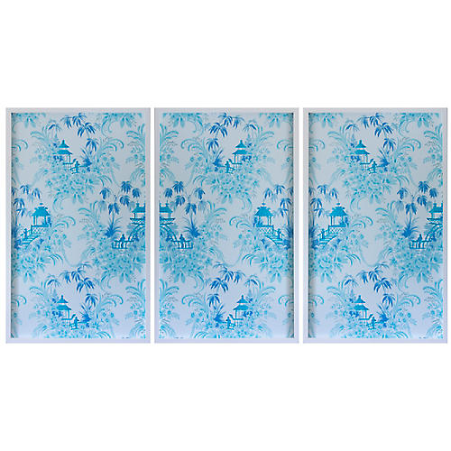 Dawn Wolfe, Pale Blue Pagoda Wallpaper Triptych
