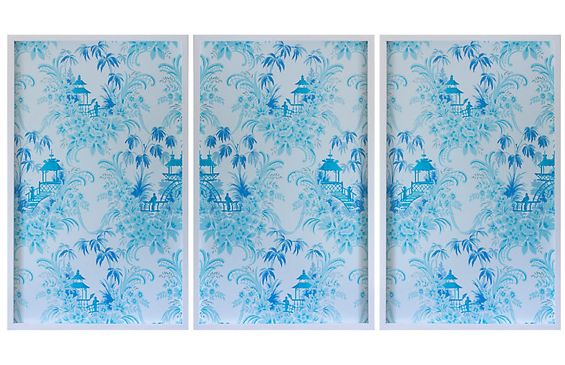 Dawn Wolfe, Pale Blue Pagoda Wallpaper Triptych