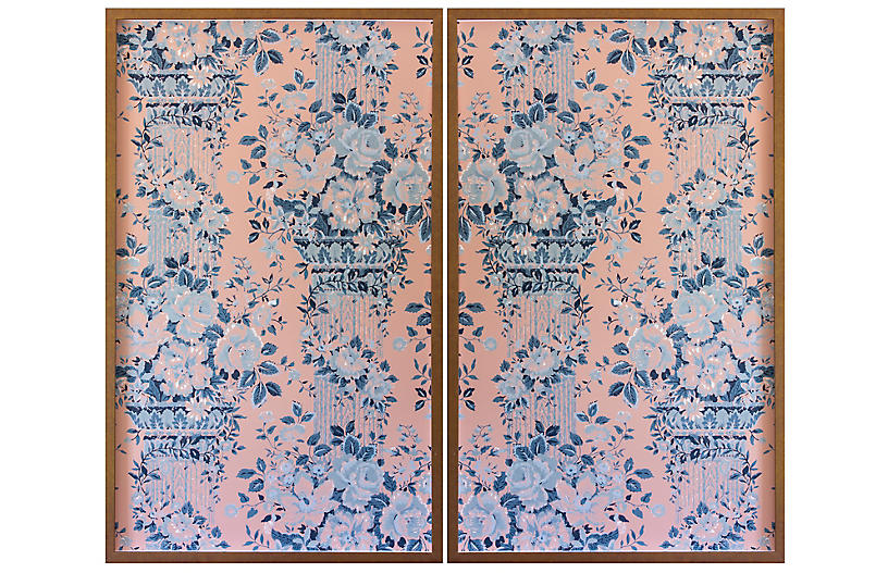 Dawn Wolfe, Gray Roses on Pink Wallpaper Diptych