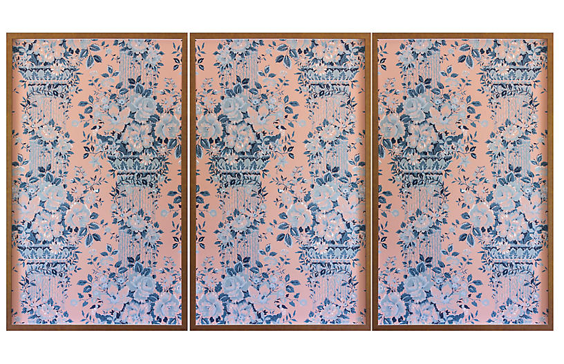 Dawn Wolfe, Gray Roses on Pink Wallpaper Triptych