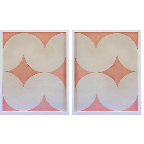 Dawn Wolfe, Pink Wave Abstract Diptych