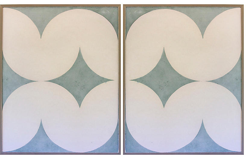 Dawn Wolfe, Light Blue Wave Abstract Diptych