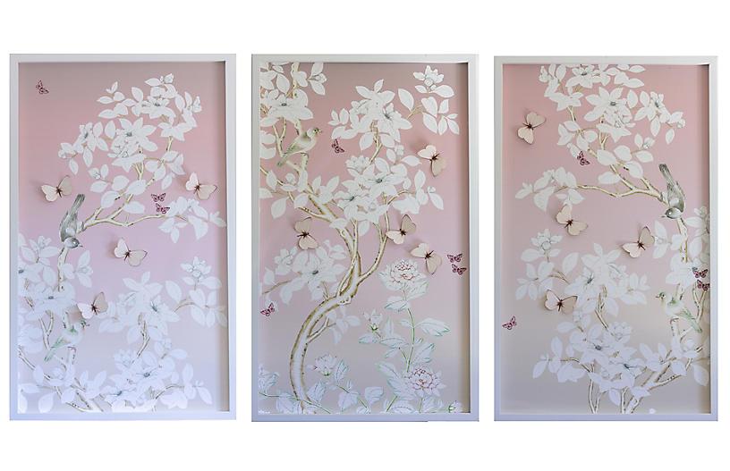 Dawn Wolfe, Chinoiserie Triptych w/ Butterflies