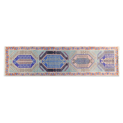 "2'7""x10' Studio Hand-Knotted Runner, Blue/Multi"