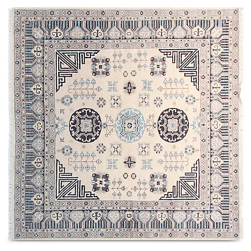 6' Johan Square Hand-Knotted Rug, Ivory/Multi