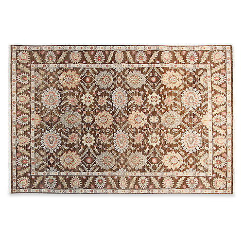 6'x9' Emma Hand-Knotted Rug, Chocolate
