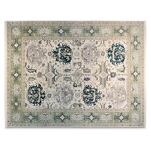 9'x12' Zora Hand-Knotted Rug, Ivory/Green