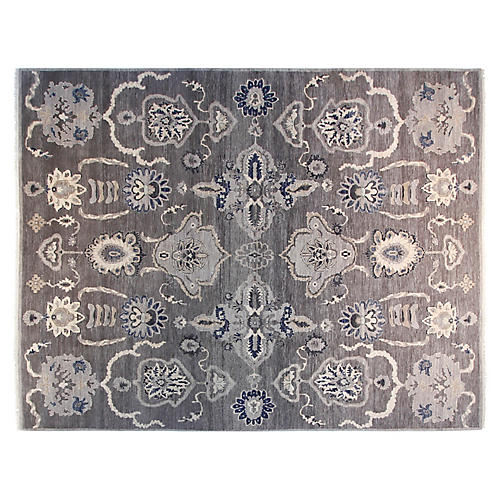 9'x12' Syla Hand-Knotted Rug, Gray