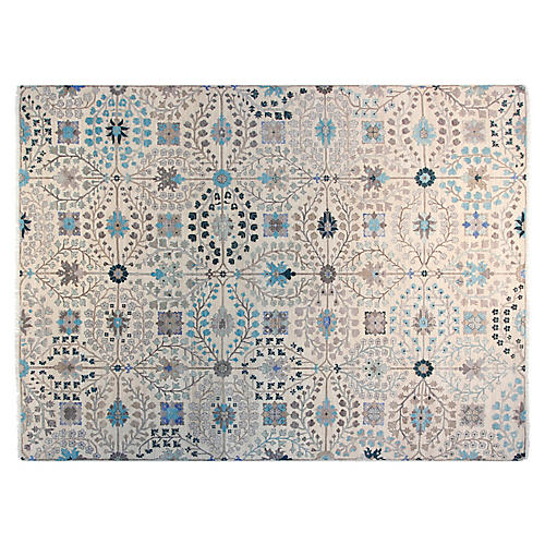 9'x12' Kerman Hand-Knotted Rug, Ivory/Light Blue