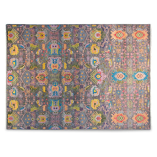 9'x12' Gauti Hand-Knotted Rug, Gray/Multi