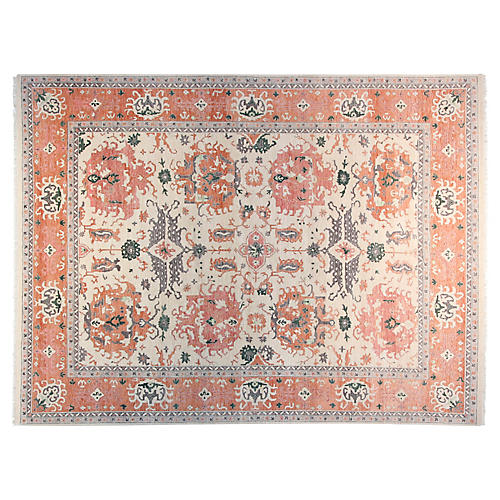 9'x12' Wayan Hand-Knotted Rug, Ivory/Coral