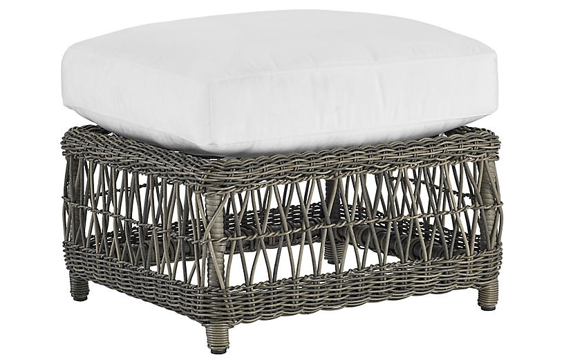 Mystic Harbor Outdoor Ottoman, French Gray