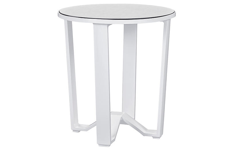 Biscayne Outdoor Small Side Table, White