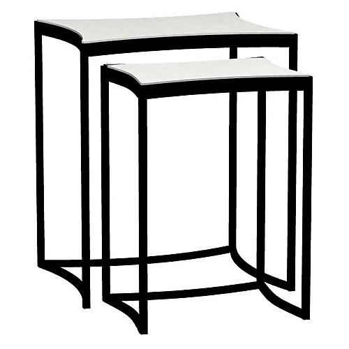 Asst. of 2 Herrin Outdoor Side Tables, Slate Gray