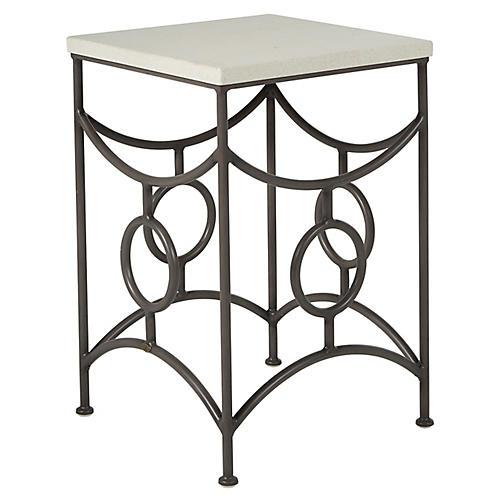 Trestle Outdoor Side Table, Slate Gray