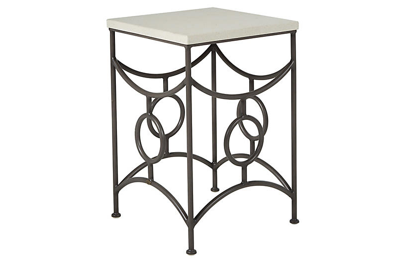 Trestle Outdoor Side Table, Slate Gray