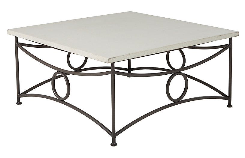 Trestle Outdoor Coffee Table, Slate Gray