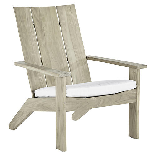 Ashland Outdoor Adirondack Chair, Oyster Teak