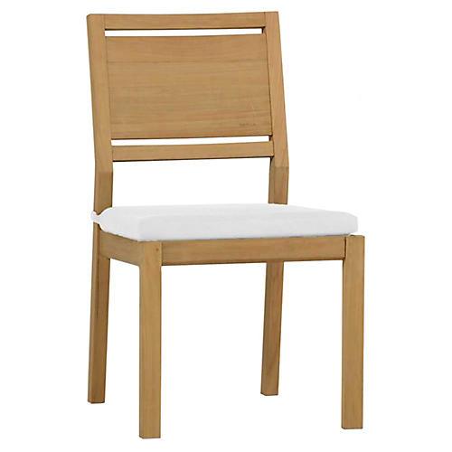 Ashland Outdoor Side Chair, Natural Teak
