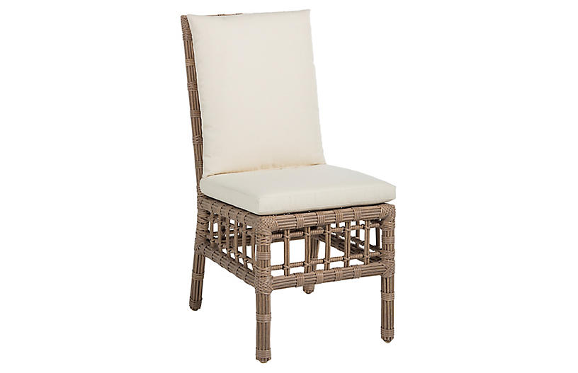 Newport Outdoor Side Chair, Burlap