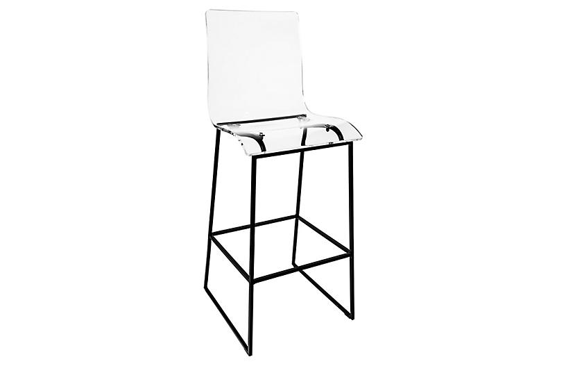 Claro Acrylic Outdoor Barstool, Ancient Earth