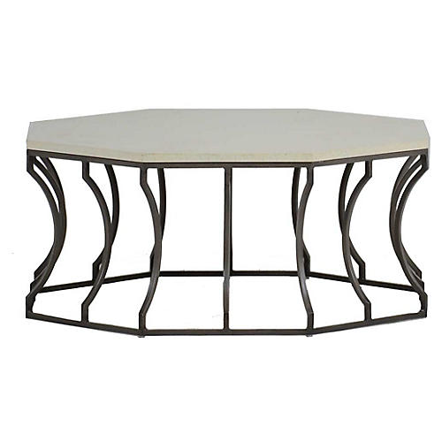 Audrey Outdoor Coffee Table, Slate Gray/Travertine