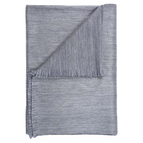 Alpaca-Blend Throw, Pewter