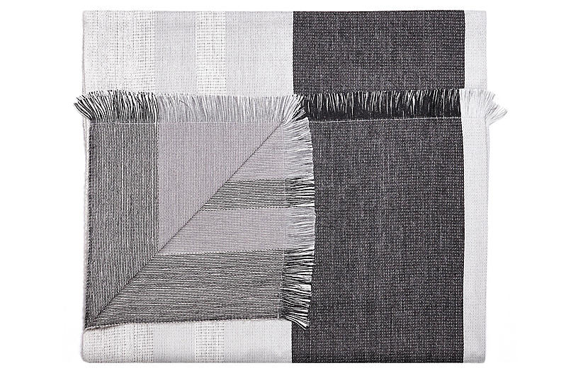 Alpaca-Blend Reversible Throw, Black/Gray
