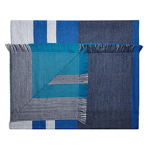 Alpaca-Blend Reversible Throw, Blue Nile
