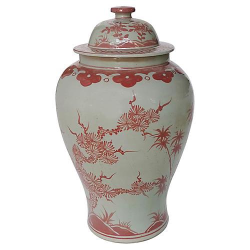 """18"""" Plum Tree Temple Jar, Red"""