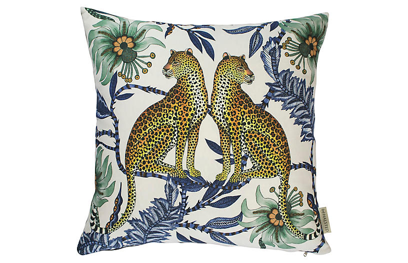 Leopard 20x20 Pillow, Blue/Multi