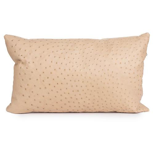Ostrich Leather 14x22 Pillow, Cream