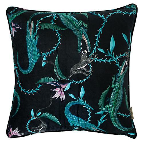 River Chase 24x24 Pillow, Turquoise/Multi Velvet