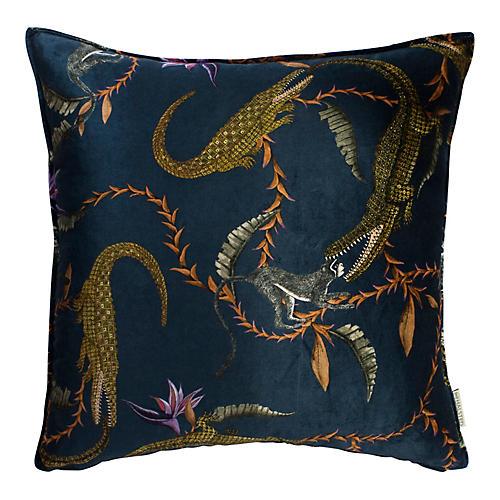 River Chase 24x24 Pillow, Navy/Multi Velvet