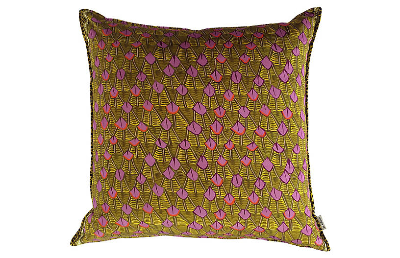 Feather 24x24 Pillow, Pink/Chartreuse Velvet