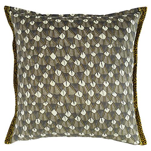Feather Royal 24x24 Pillow, Silver/Multi Velvet