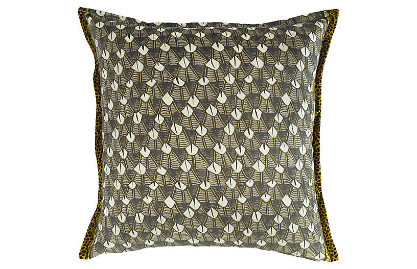 Feather Royal 24x24 Pillow, Silver/Multi Velvet