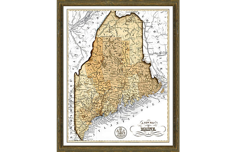 Sepia Map of Maine, Brown/Gray