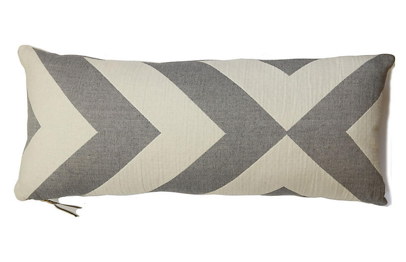 Lagom long lumbar Lumbar Cotton Pillow, Pewter