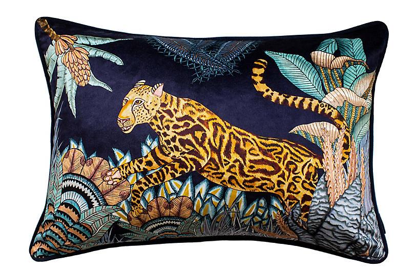 Cheetah Kings 16x24 Lumbar Pillow, Tanzanite Velvet